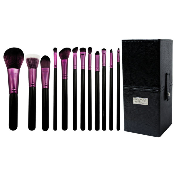 Guilty Pleasures... Wrath™ – 12-piece Brush Kit - makeup brushes lined up side-by-side next to brush kit box