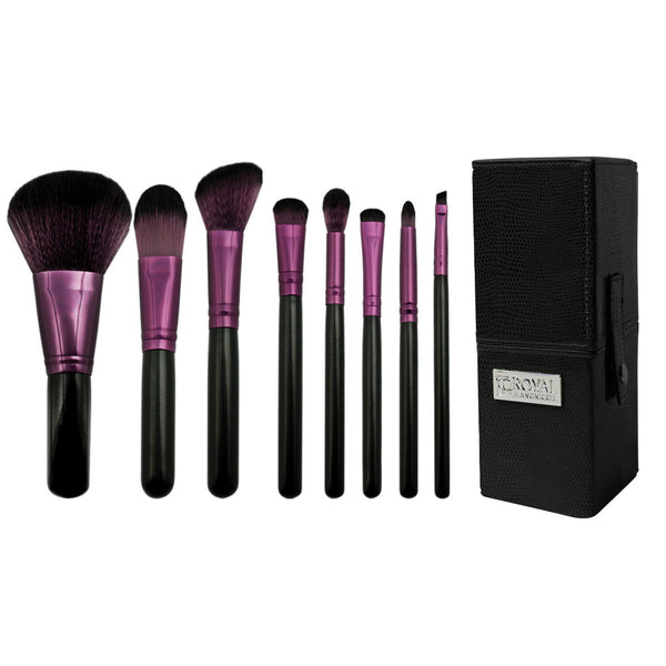 Guilty Pleasures... Wrath™ – 8-piece Travel Brush Kit - makeup brushes lined up side-by-side next to brush kit travel box