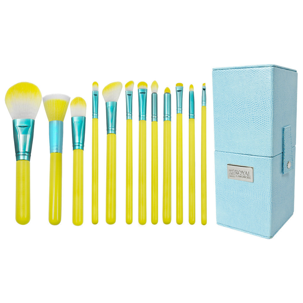 Love Is... Hopeful™ – 12-piece Brush Kit - makeup brush lined up side-by-side next to brush kit box