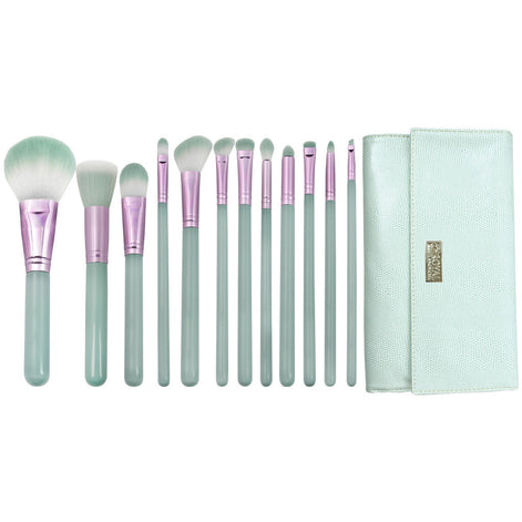 Love Is... Patience™ – 12-piece Wrap Kit - makeup brushed lined up side-by-side next to brush wrap