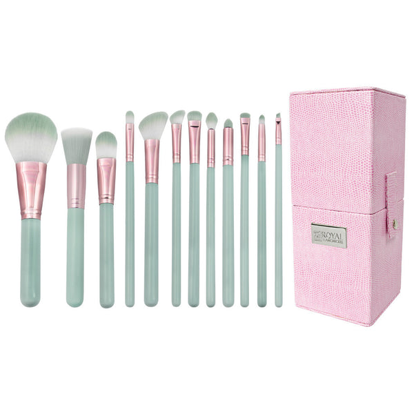 Love Is... Trusting™ – 12-piece Brush Kit - makeup brushes lined up side-by-side next to brush kit box