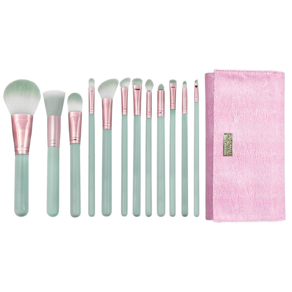 Love Is... Trusting™ – 13pc Brush Wrap Kit Love Is... Trusting™ – 12-piece Wrap Kit - makeup brushes lined up side-by-side next to brush wrap