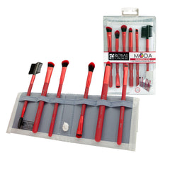 MODA™ BEAUTIFUL EYES 7-piece Red Brush Kit - glam shot with retail packaging