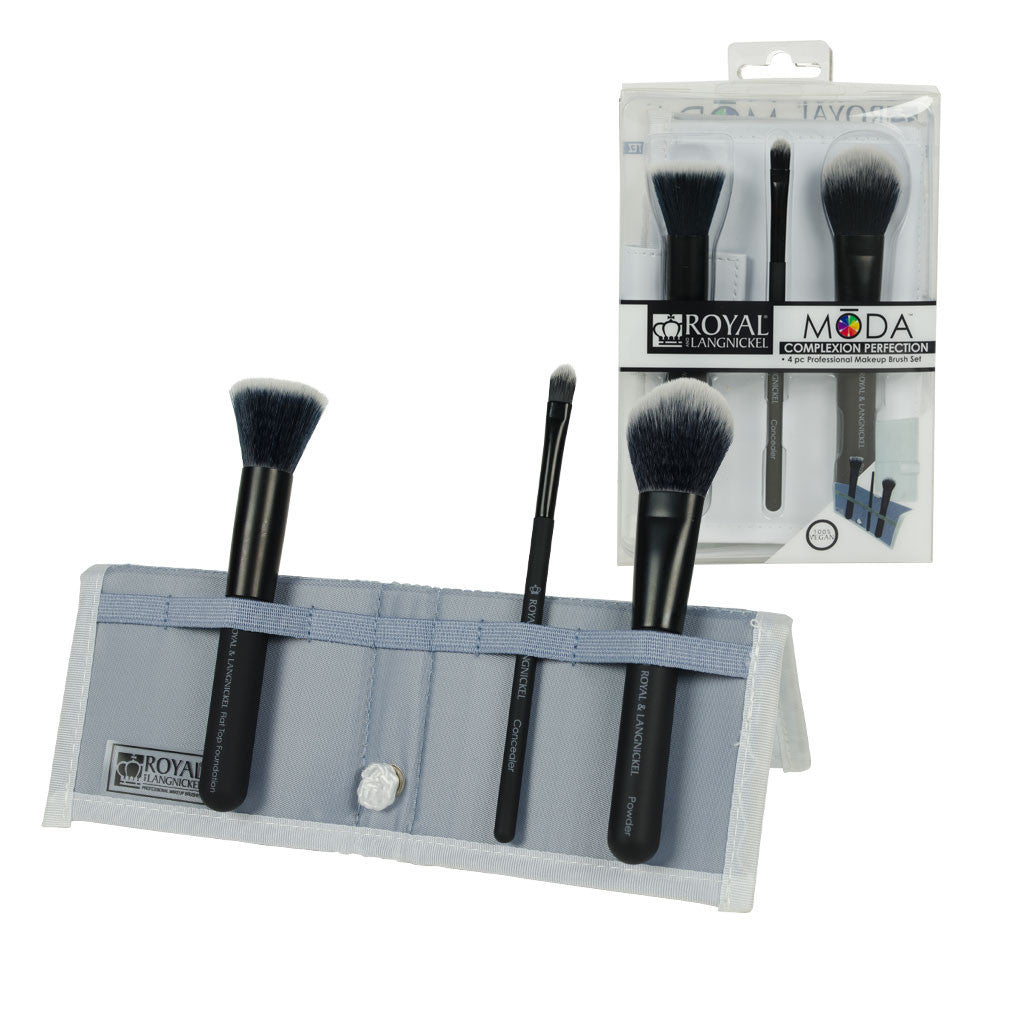 MODA™ COMPLEXION PERFECTION 4-piece Black Brush Kit - glam shot with retail packaging
