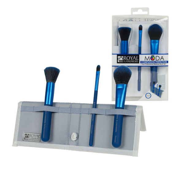 MŌDA® COMPLEXION PERFECTION 4pc Blue Brush Kit MODA™ COMPLEXION PERFECTION  4-piece Black Blue Kit - glam shot with retail packaging