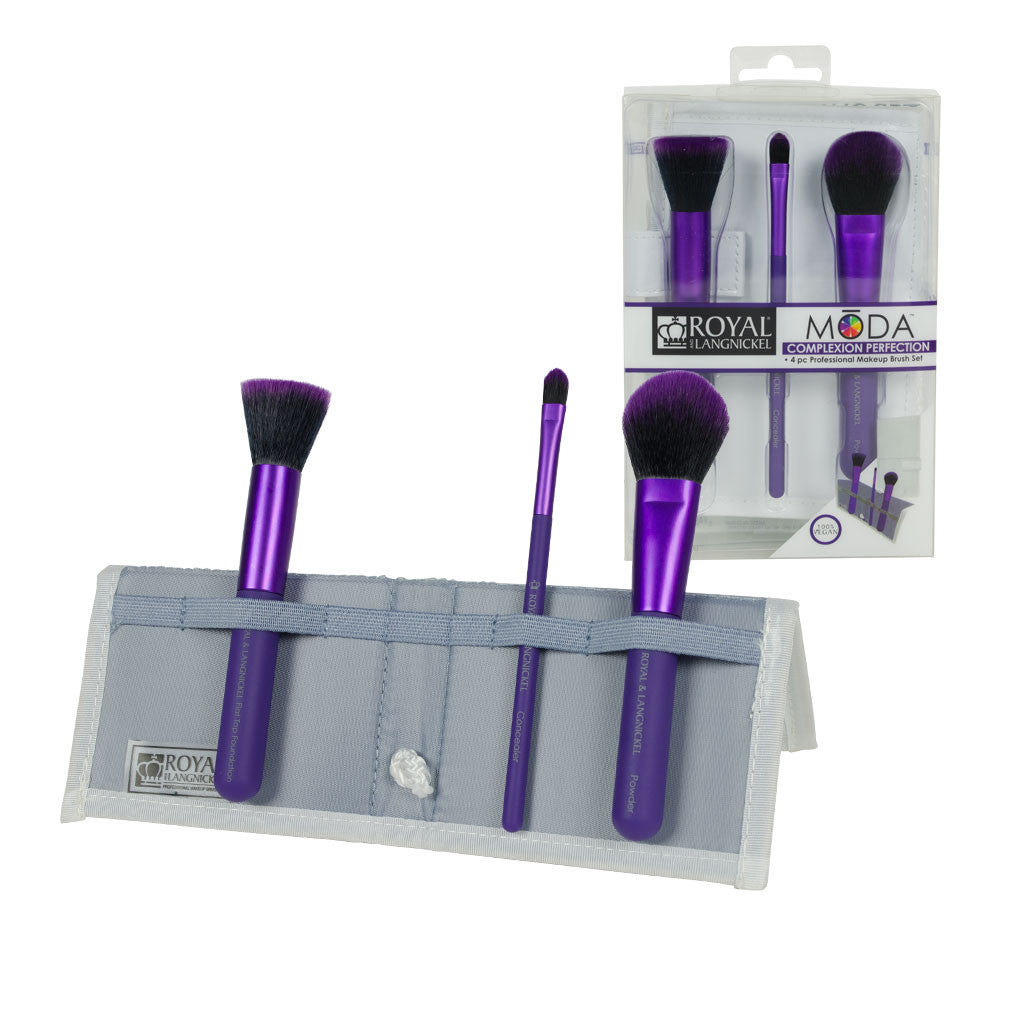 MODA™ COMPLEXION PERFECTION 4-piece Purple Brush Kit - glam shot with retail packaging