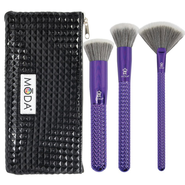 MŌDA® Metallics 4pc Blended Beauty Kit Makeup Brushes with Black Studded Zip Pouch