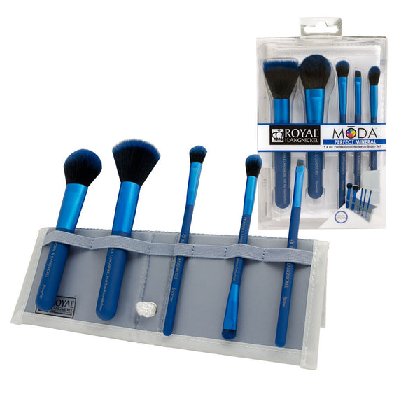MODA™ PERFECT MINERAL 6-piece Blue Brush Kit - glam shot with retail packaging