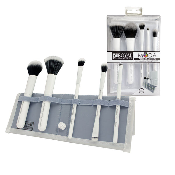 MODA™ PERFECT MINERAL 6-piece White Brush Kit - glam shot with retail packaging