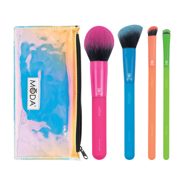 MŌDA® Totally Electric 5pc Complete Face Kit Makeup Brushes and Iridescent Zip Pouch
