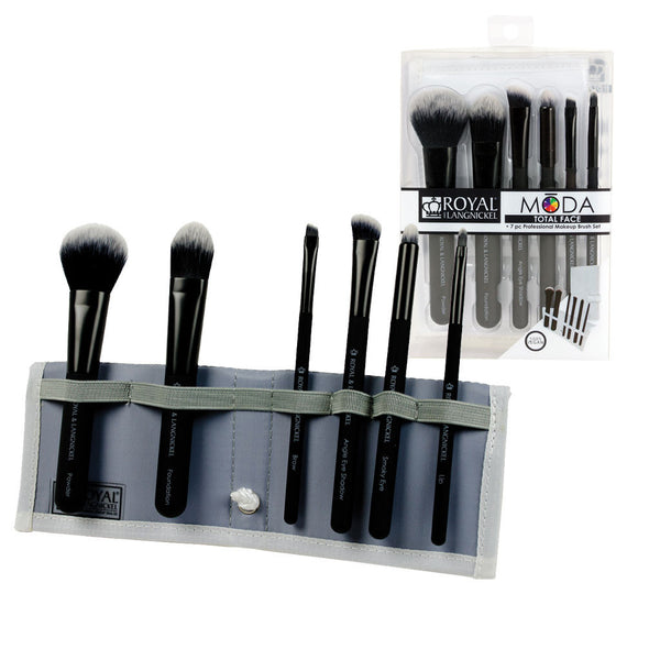 MODA™ TOTAL FACE 7-piece Black Brush Kit - glam shot with retail packaging