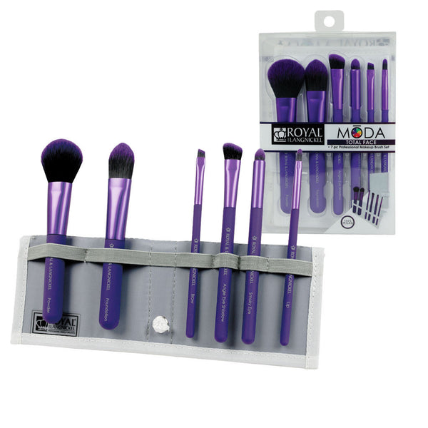 MODA™ TOTAL FACE 7-piece Purple Brush Kit - glam shot with retail packaging