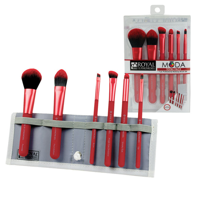 BMD-TFSET7RD - MŌDA® TOTAL FACE 7pc Red Brush Kit