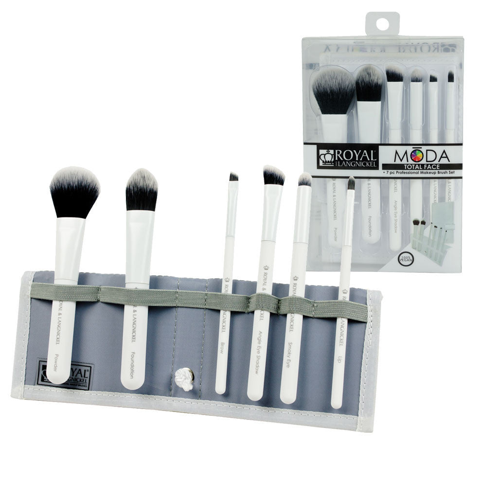 MODA™ TOTAL FACE 7-piece White Brush Kit - glam shot with retail packaging
