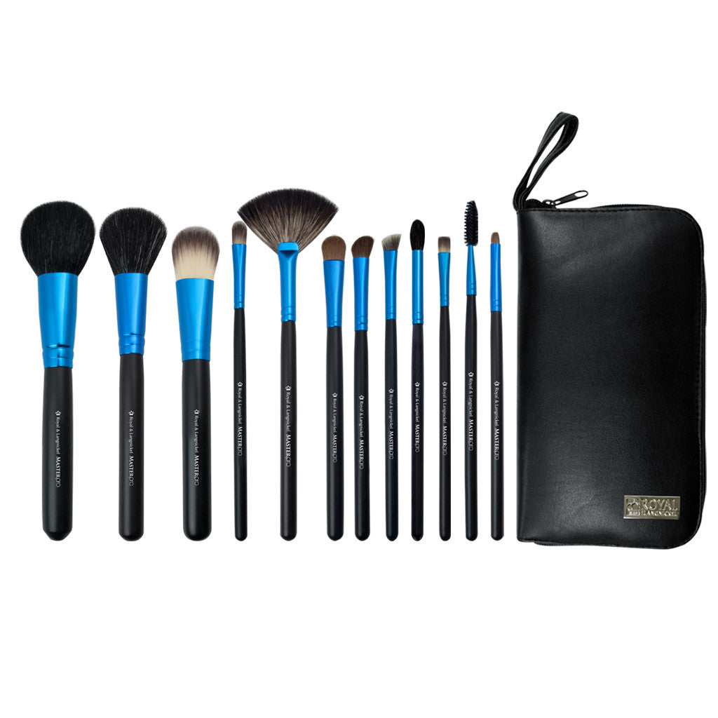 Master Pro™ Travel 12-piece Kit - makeup brushes lined up side-by-side next to travel kit