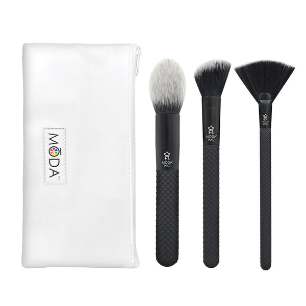 MŌDA® Pro 4pc Finishing Kit Makeup Brushes with Zip Case
