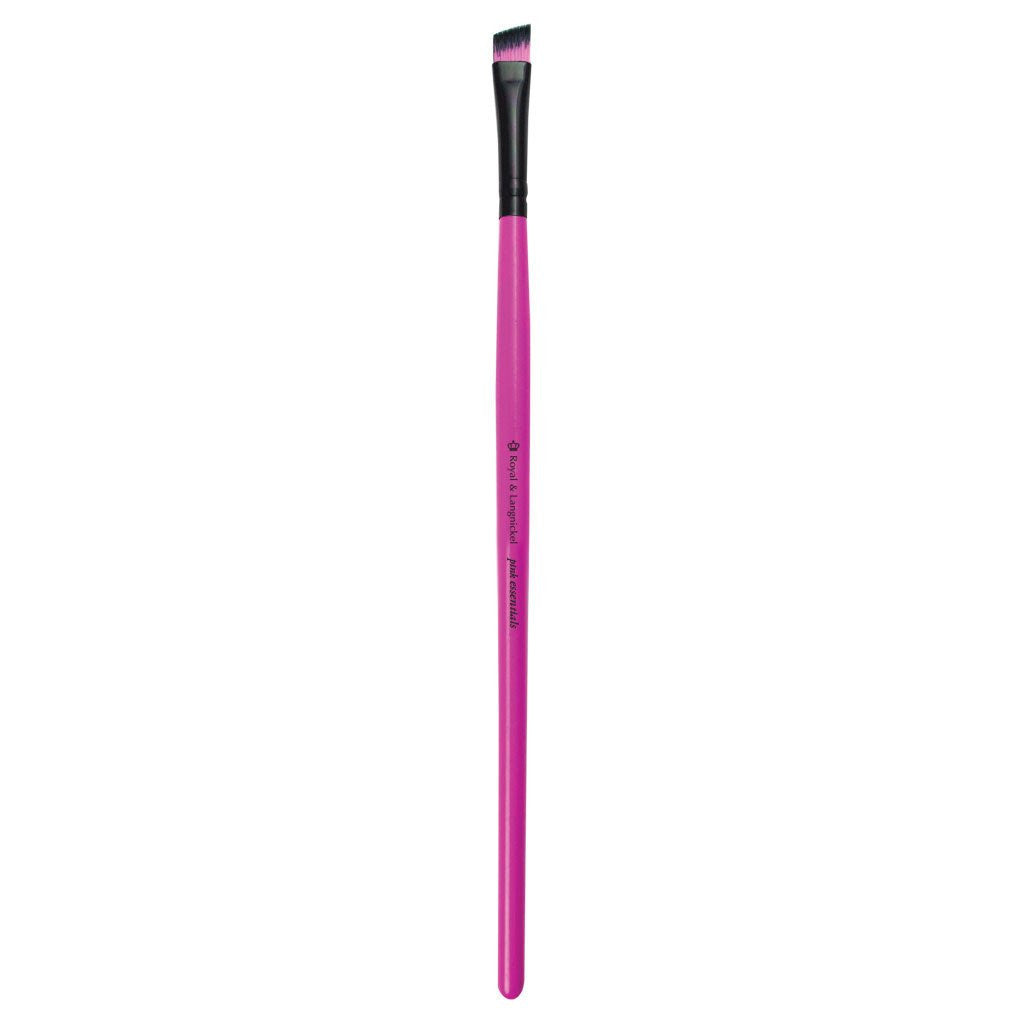 Full view of Pink Essentials™ Angled Brow makeup brush facing left