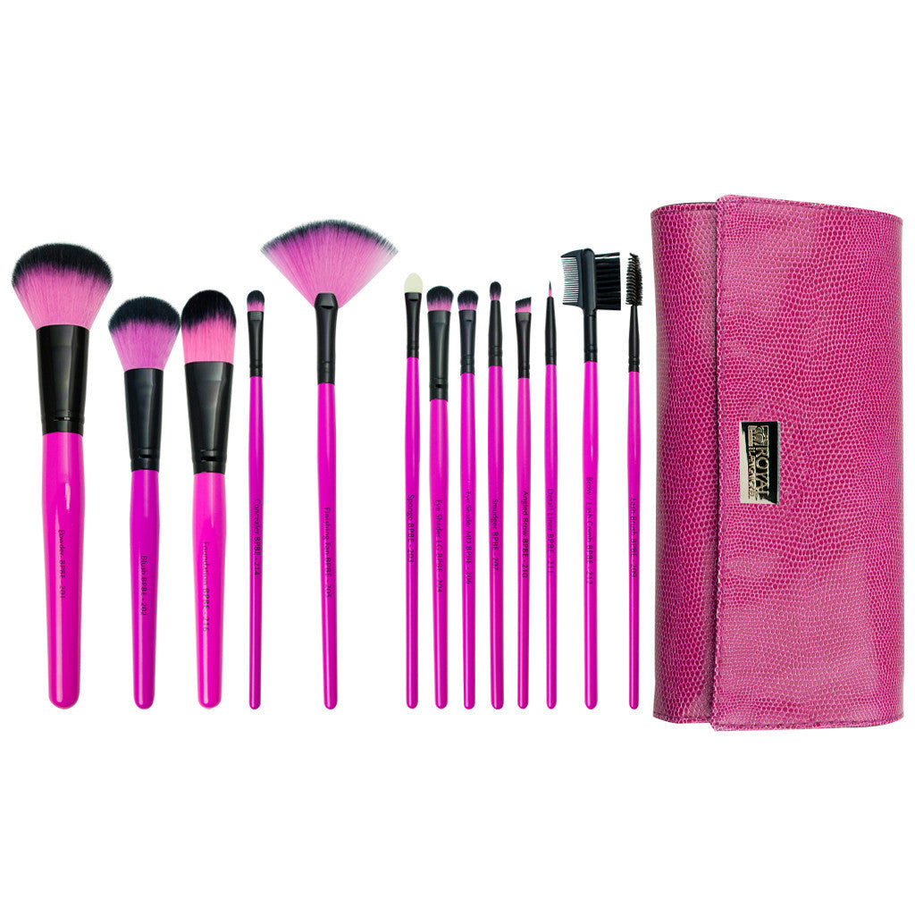 Pink Essentials™ Synthetic 13-piece Wrap Kit - makeup brushes lined up side-by-side next to brush wrap