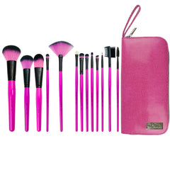 Pink Essentials™ Synthetic 13-piece Travel Kit - makeup brushes lined up side-by-side next to travel kit