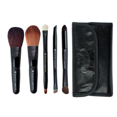 Brush Essentials™ Black 5pc Travel Kit - all brushes lined up next to travel kit side-by-side