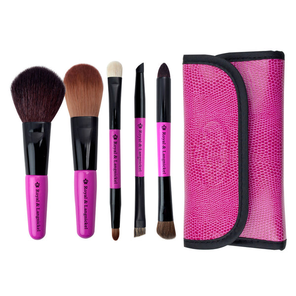 Brush Essentials™ Pink 5-piece Travel Kit - brushes lined up side-by-side next to travel kit