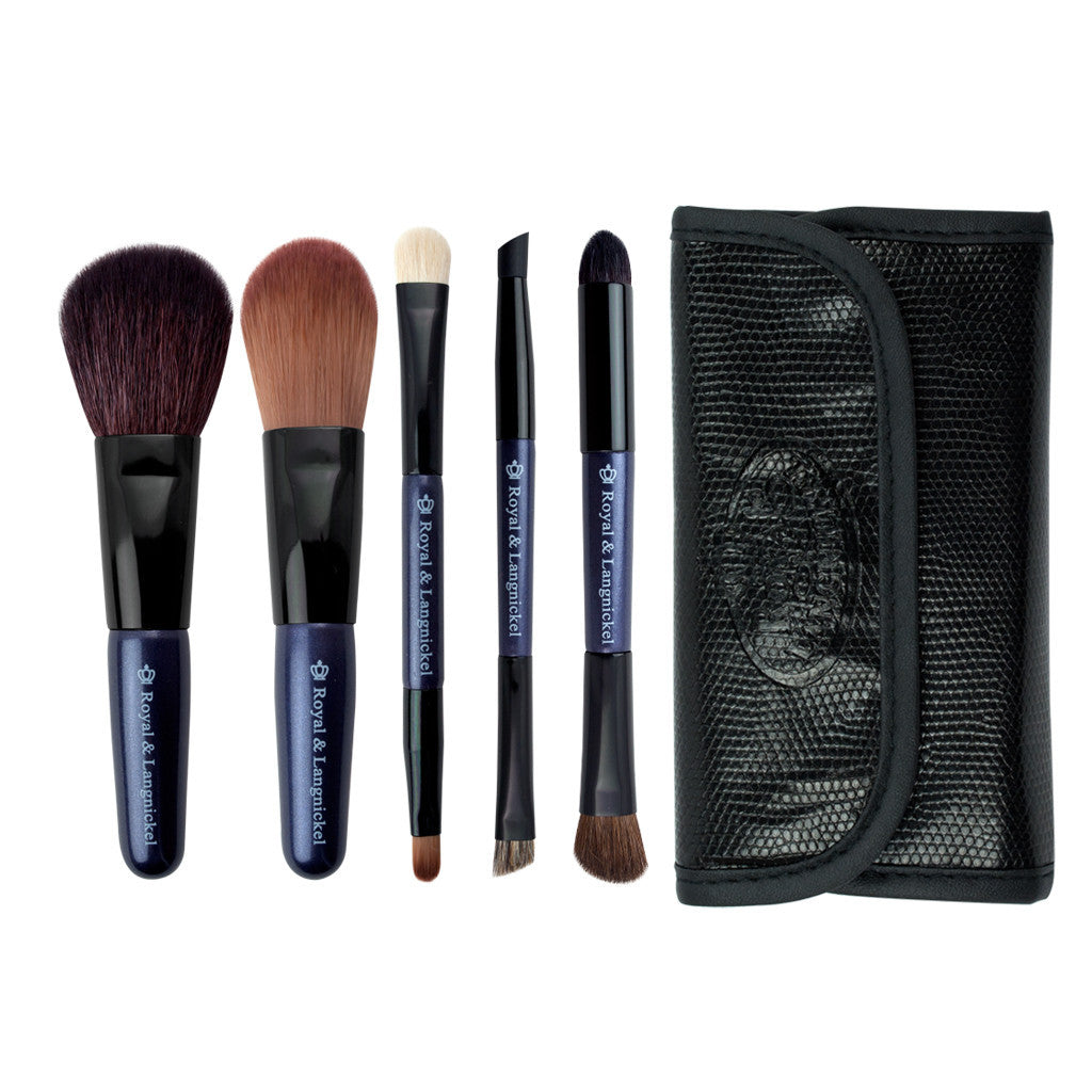 Brush Essentials™ Purple 5-piece Travel Kit - brushes lined up side-by-side of travel kit