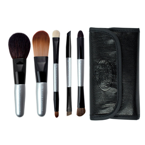 Brush Essentials™ Silver 5-piece Travel Kit - brushes lined up side-by-side next to travel kit