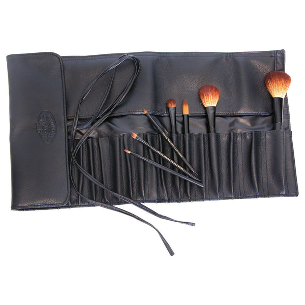 Black 20-Pocket Brush Wrap glamour shot with brushes (not included)