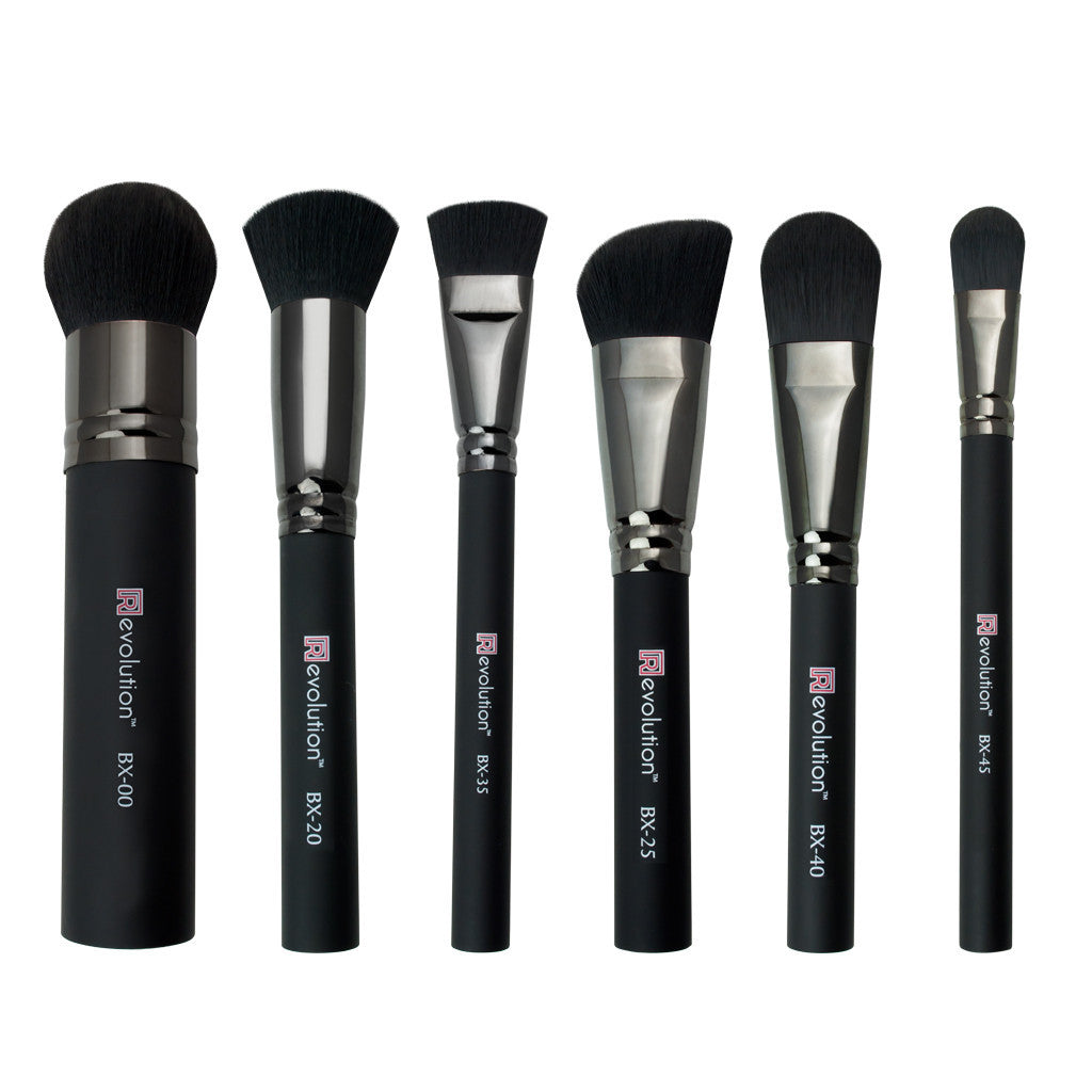 [R]evolution® Pro Complexion Kit - Synthetic 6-piece Kit - makeup brushes lined up side-by-side