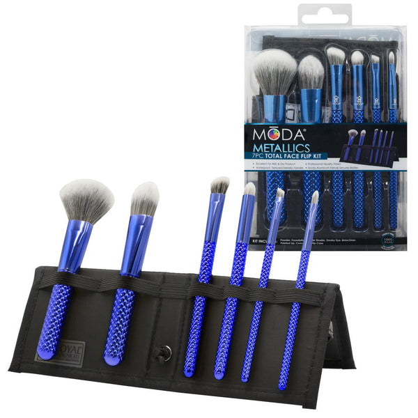 MŌDA® Metallics 7pc Blue Total Face Kit