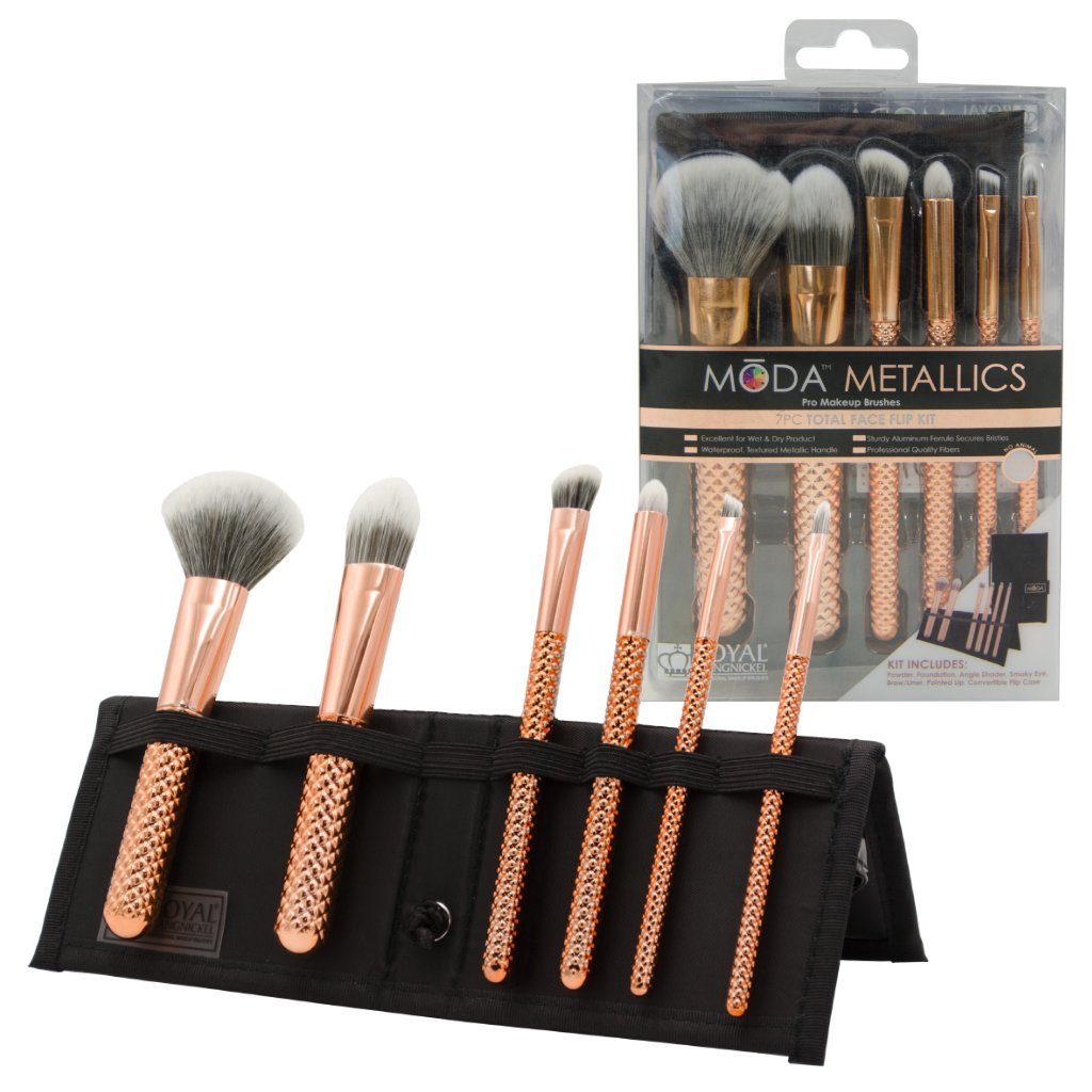 MŌDA® Metallics 7pc Rose Gold Total Face Kit