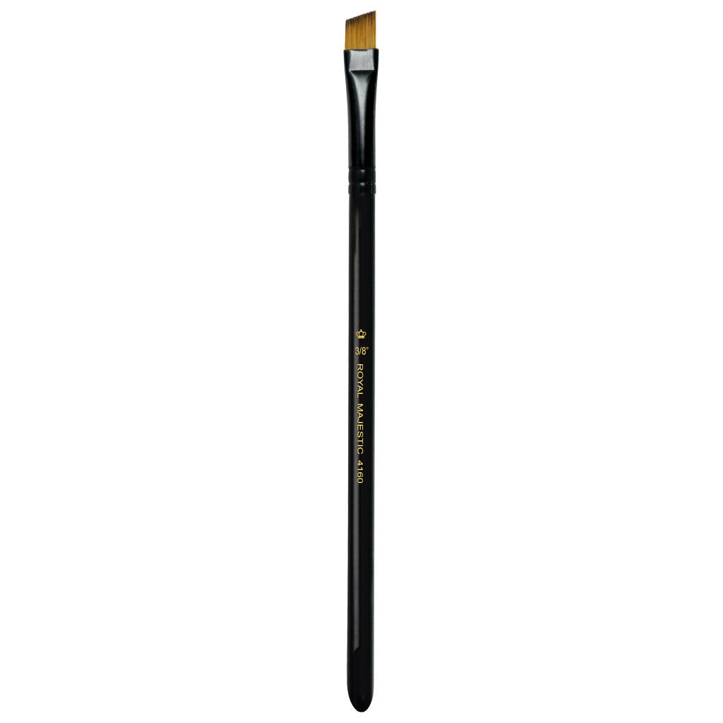 "Full view of Majestic™ Angular 3/8"" face art brush facing upward"