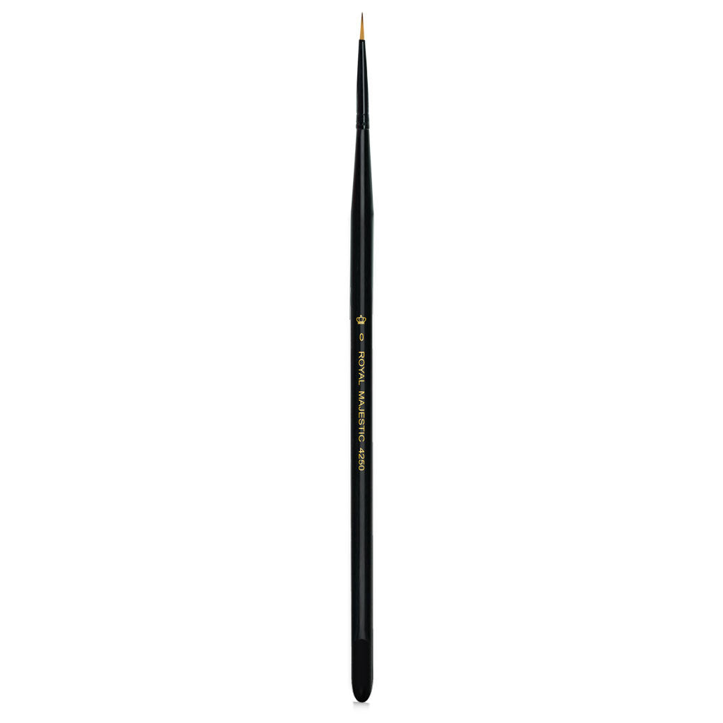 Full view of Majestic™ Round Size 0 face art brush facing upward