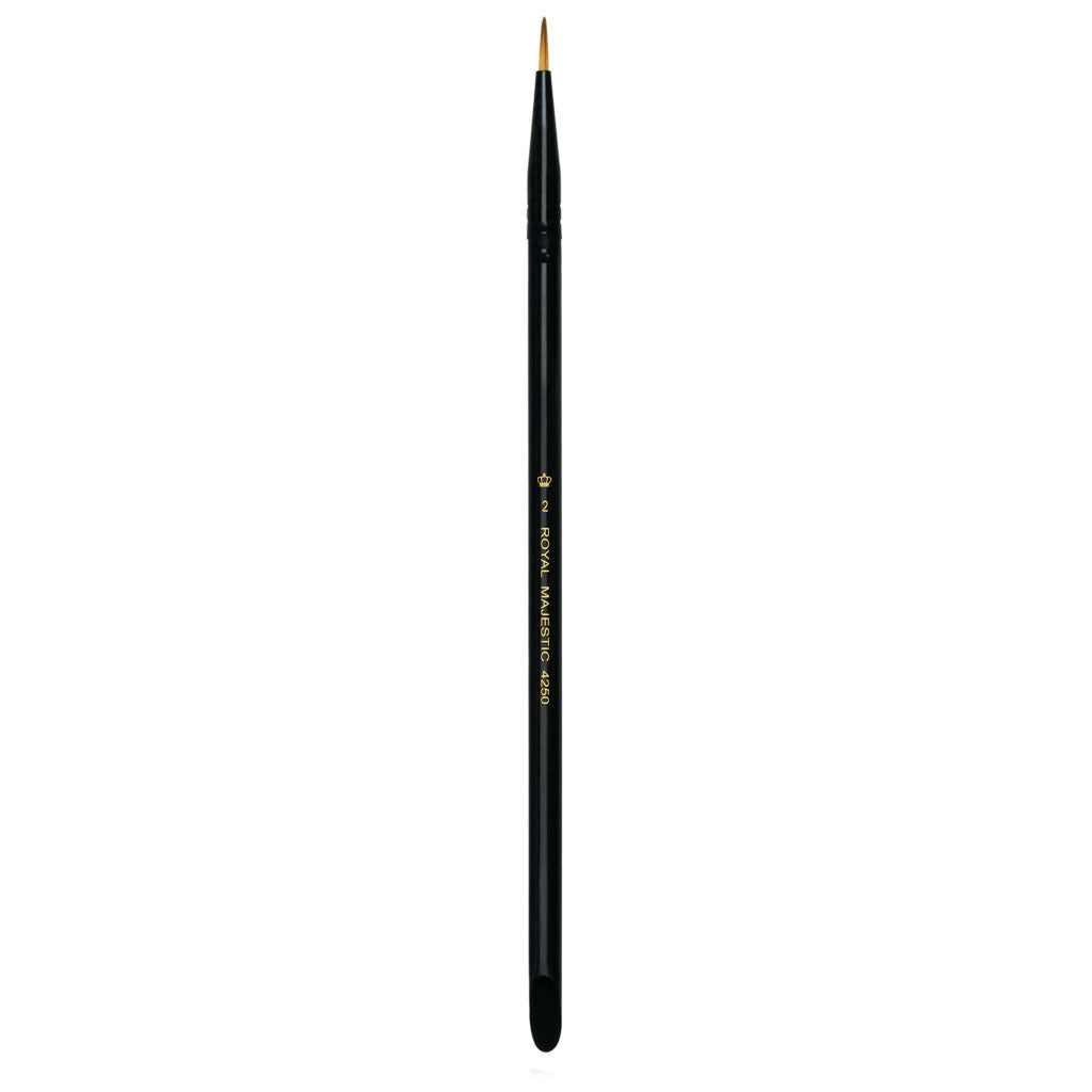 Full view of Majestic™ Round Size 2 face art brush facing upward