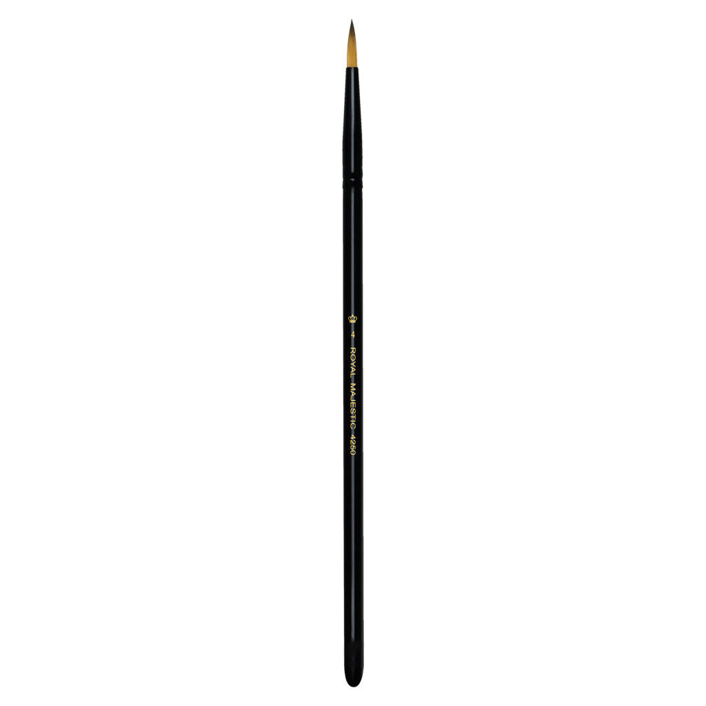 Full view of Majestic™ Round Size 4 face art brush facing upward