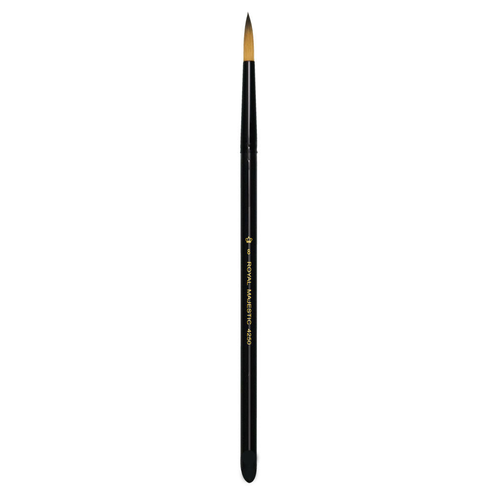 Full view of Majestic™ Round Size 8 face art brush facing upward
