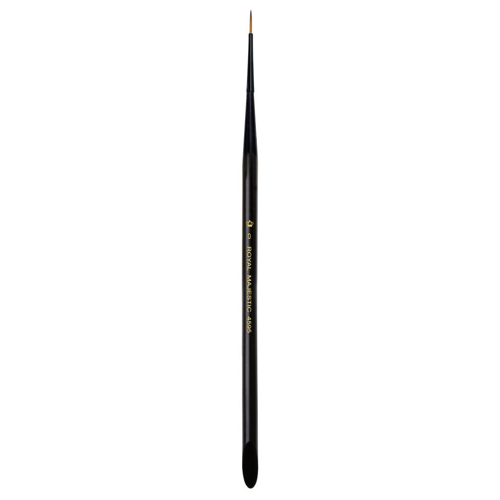 Full view of Majestic™ Short Liner Size 0 face art brush facing upward