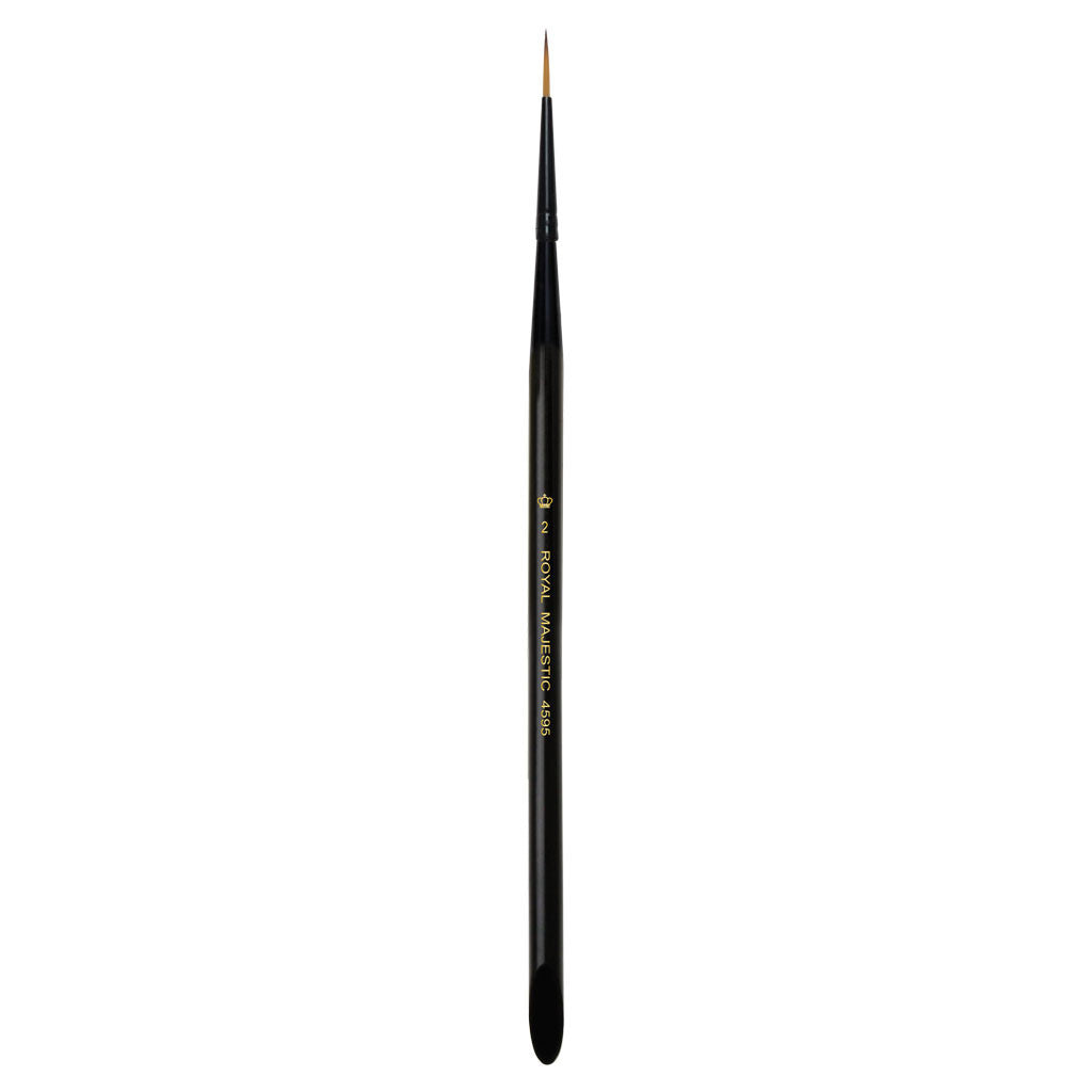 Full view of Majestic™ Short Liner Size 2 face art brush facing upward
