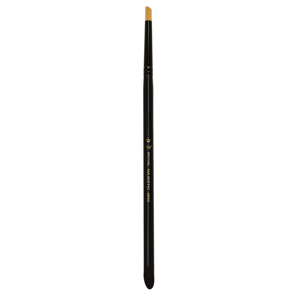 "Full view of Majestic™ Deerfoot Stippler 1/4"" face art brush facing upward"