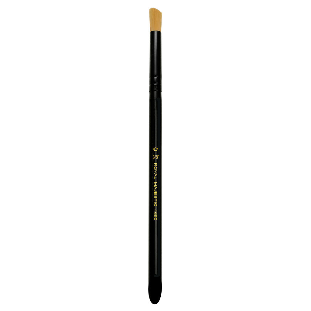 "Full view of Majestic™ Deerfoot Stippler 3/8"" face art brush facing upward"