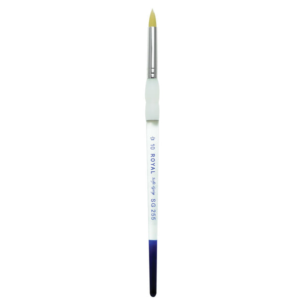 Soft Grip Gold Synthetic Short Round S10 Full view of Soft Grip Gold Taklon Short Round Size 10 face art brush facing upward