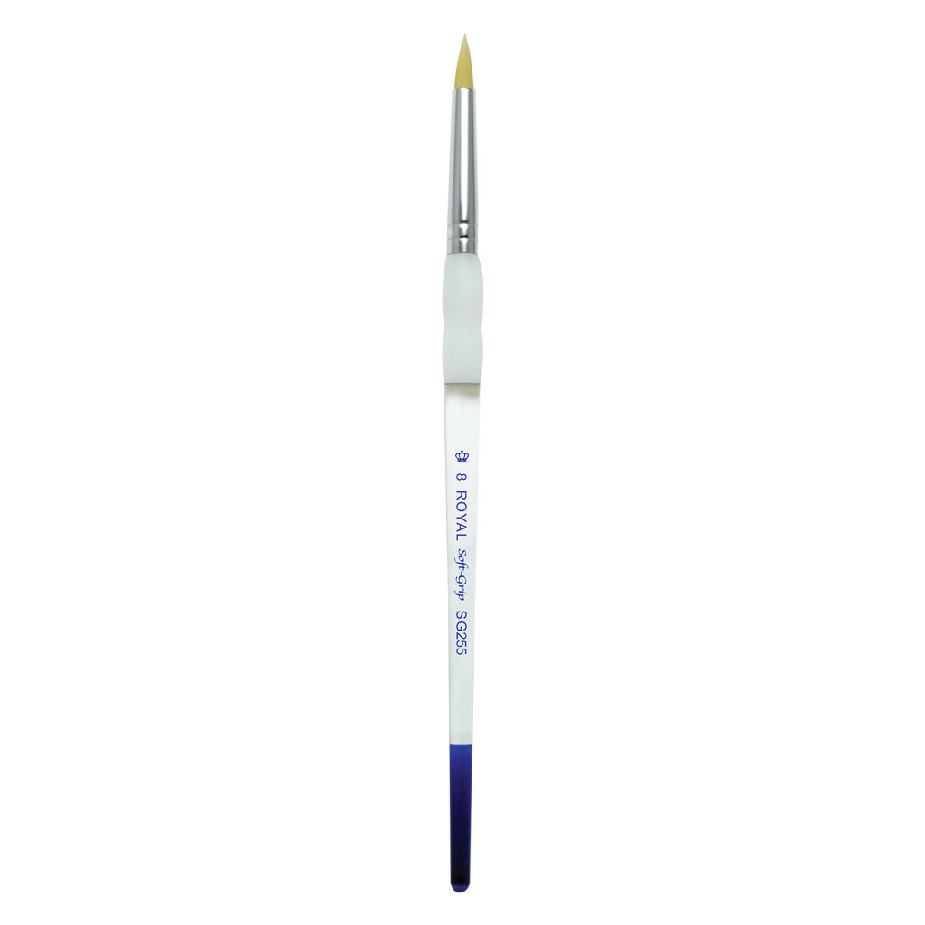 Full view of Soft Grip Gold Taklon Short Round Size 8 face art brush facing upward