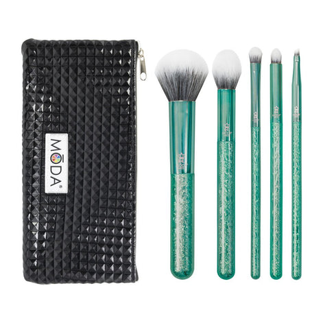 MSET-GC6 - MŌDA® Metallics 6pc Emerald Crackle Kit Makeup Brushes and Studded Zip Pouch