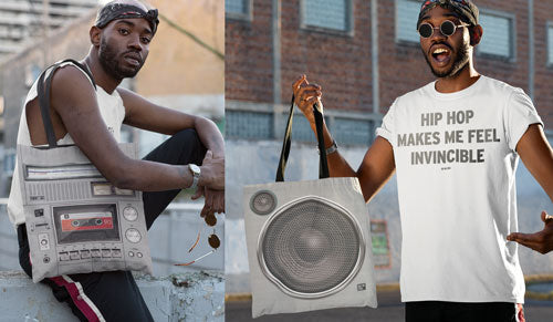 Boombox and Speaker Tote Bag