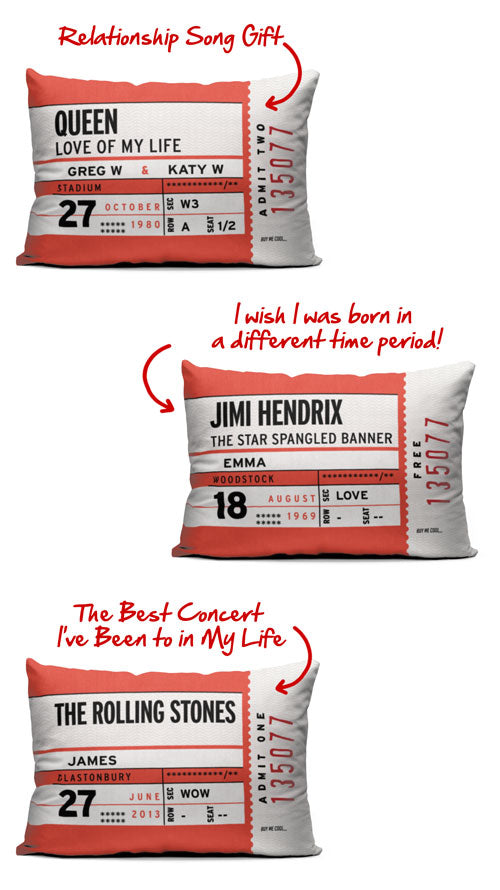 Luve Music Concert Ticket Personalize Pillow
