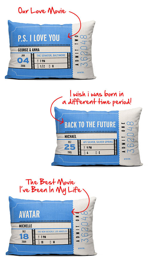 Movie Ticket Personalized Throw Pillow