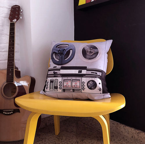 Retro Reel To Reel Player Themed Pillow