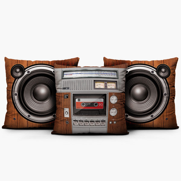 Boombox Set Wood - Throw Pillow