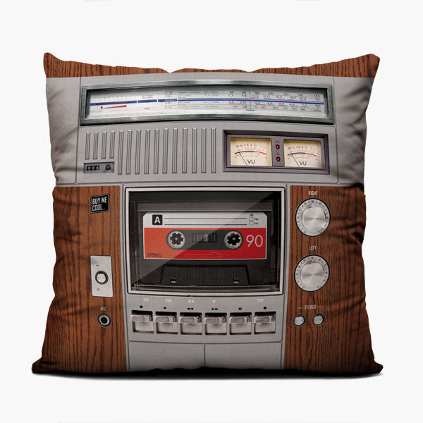 Cassette Deck Wood - Throw Pillow