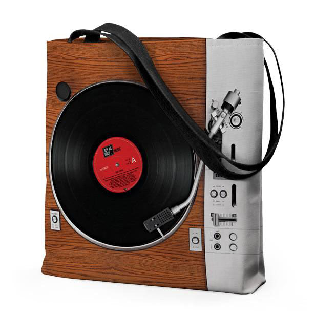 Turntable and Speaker Wood - Tote Bag